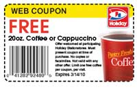 Free Coffee or Cappuccino at Holiday