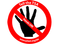 Free Sticker: 'Tell the TSA Hands Off'