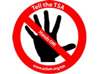 Free Sticker: 'Tell the TSA Hands Off'