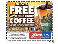 Free Cup of Fresh Brewed Coffee at Xrta Mart Today Only (any size)