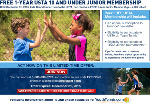 Free 1 Year USTA 10 and Under Junior Membership