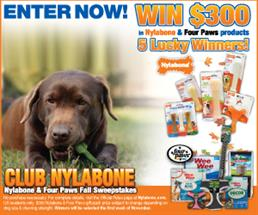 Win $300 of Nylabone & Four Paws Products in the Fall Sweepstakes