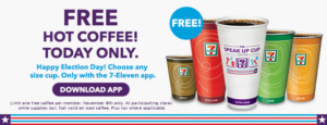 Expired: Free Coffee at 7-11 for Election Day
